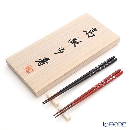 若狭塗箸 桜の舞ペア S-16027 黒・赤 桐箱入・箸置付