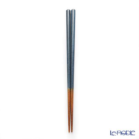 若狭塗箸 草染木ペアS-56005 藍・桃 各23cm 箱入・箸置付