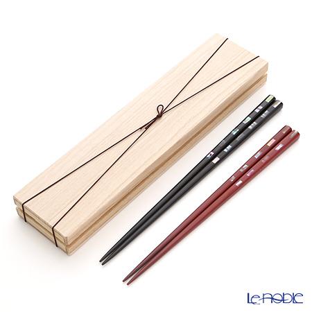 若狭塗箸 貝香ペア S-12108 黒23.5cm・赤21.5cm 桐箱入