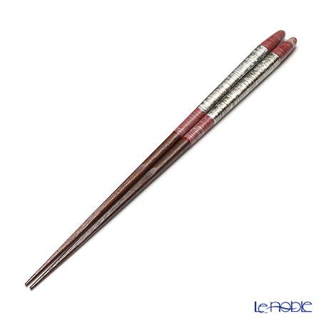 若狭塗箸 先角箸 銀嶺 赤 23cm