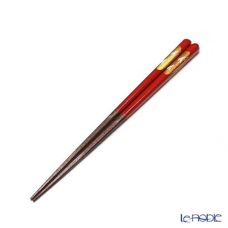 若狭塗箸 先角箸 うさぎ(中) 赤 21cm