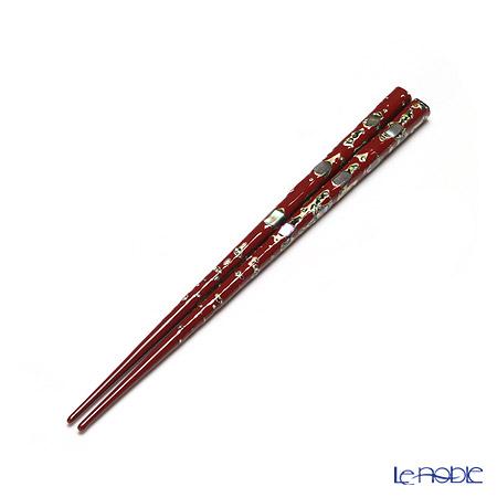 若狭塗箸 貝錦 (中) 赤 20cm