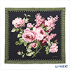 Jim Thompson silk handkerchiefs (L) Pink rose bouquet/black