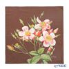 Jim Thompson 'Single Rose' Pink / Brown  Ruffled Silk Cushion Cover 46x46cm