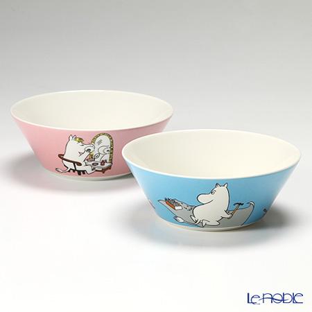Arabia 'Moomin Classics - Moomintroll & Snorkmaiden' Turquoise Blue & Pink Bowl 15cm (set of 2)