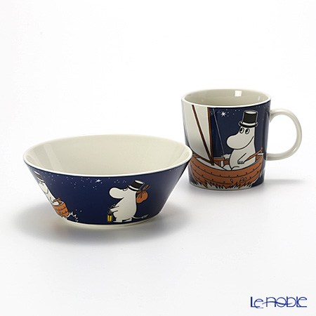 Arabia Moomin Classics - Moominpappa Set of Mug & Bowl, blue, 2014