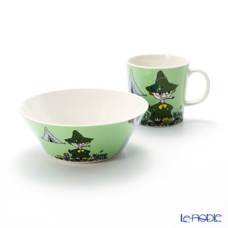 Arabia 'Moomin Classics - Snufkin' Green 2015 Mug, Bowl (set of 2)