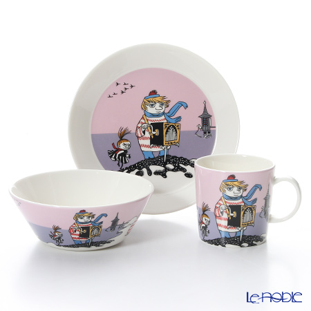 Arabia 'Moomin Classics - Tooticky' Violet [2016] 1019853&1019834&1019856 Mug, Bowl, Plate (set of 3)