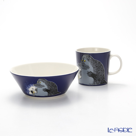 Arabia Moomin Classics - The Groke Set of Mug & Bowl, dark blue 2005