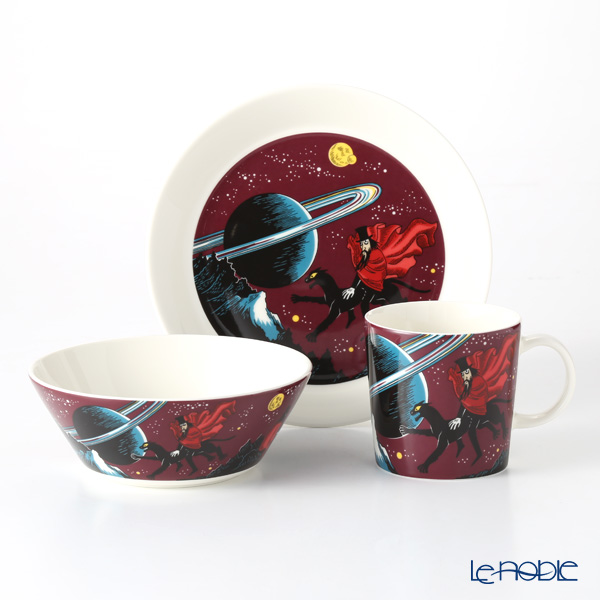 Arabia Moomin Classics - Hobgoblin Reddish Set of Plate, Mug & Bowl, purpule