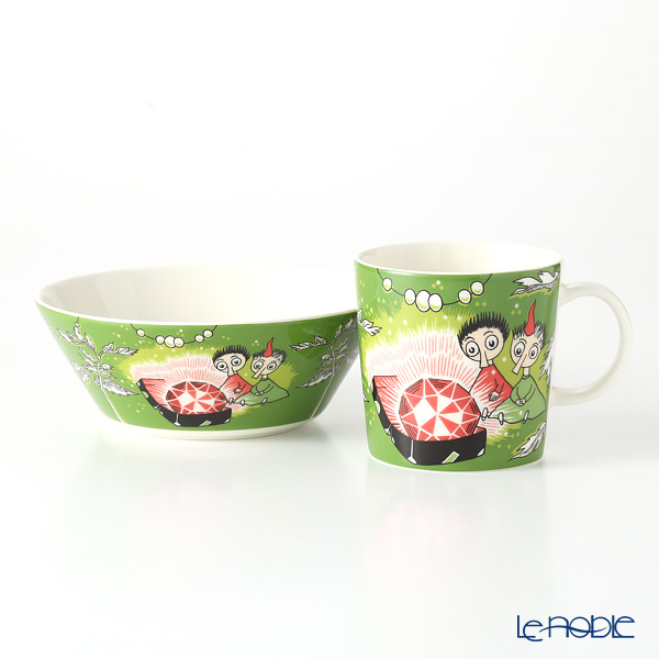 Arabia Moomin Classics - Thingumy and Bob Set of Mug & Bowl, green