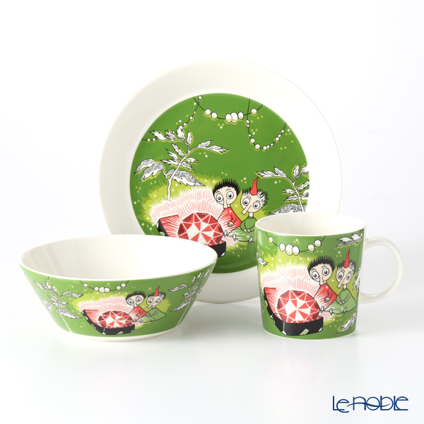 Arabia Moomin Classics - Thingumy and Bob Set of Plate, Mug & Bowl, green