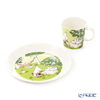Arabia 'Moomin Seasonal - Relaxing' Green [2020 Summer] 1052327&1052328 Mug, Plate (set of 2 for 1 person)