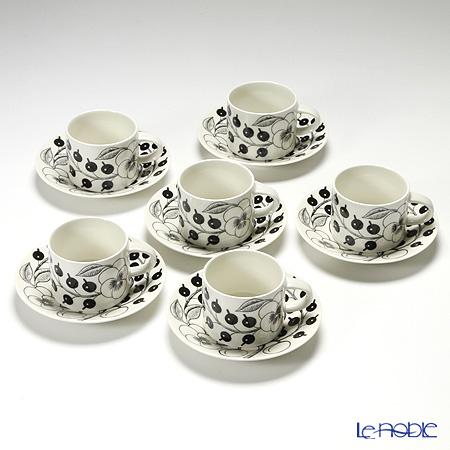 Arabia Black Paratiisi Tea cup 0,28l and saucer 16,5 cm 6 pcs
