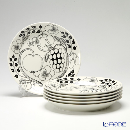 Arabia Black Paratiisi Plate, flat 26 cm 6 pcs