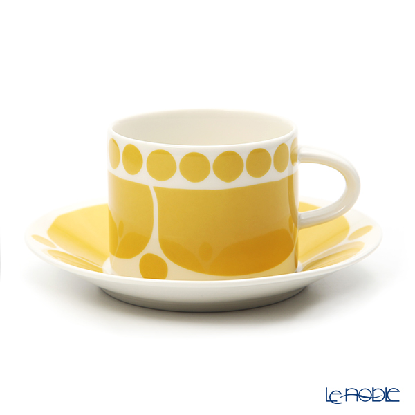 Arabia 'Sunnuntai' Yellow Tea Cup & Saucer, Plate (set of 3 for 1 person)
