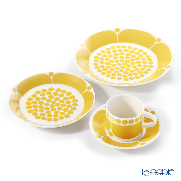 Arabia 'Sunnuntai' Yellow 1028186&1028200&1028201 Tea Cup & Saucer, Plate (set of 3 for 1 person)