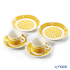 Arabia 'Sunnuntai' Yellow Tea Cup & Saucer, Plate (set of 4 for 2 persons)