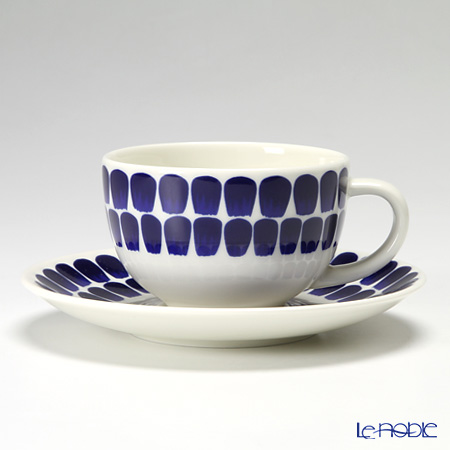 Arabia '24h Tuokio' Blue Tea / Coffee Cup & Saucer, Plate (set of 6 for 2 persons)