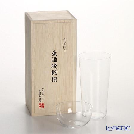 【即日出荷対応】松徳硝子 うすはり 麦酒晩酌揃 タンブラー(L)&柿ピー小鉢セット 【木箱入】