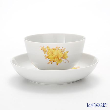 Augarten 'Maria Theresia Simple' Yellow Tea Bowl & Dish (Japanese Tea Cup & Saucer)