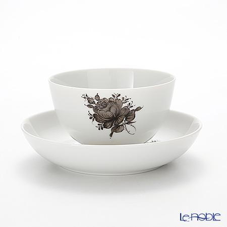 Augarten 'Maria Theresia Simple' Gray Tea Bowl & Dish / Japanese Tea Cup & Saucer