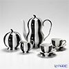 Augarten 'Melon' Black & White Mocha Coffee Cup & Saucer, Tea Pot, Sugar Bowl, Creamer (set of 5 for 2 persons)