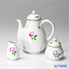Augarten 'Wiener (Viennese) Rose' [Schubert shape] Coffee Pot, Sugar Pot, Creamer (set of 3)