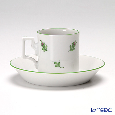 Augarten 'Wiener (Viennese) Rose' [Habsburg shape] Mocha Coffee Cup & Saucer 80ml (set of 2)