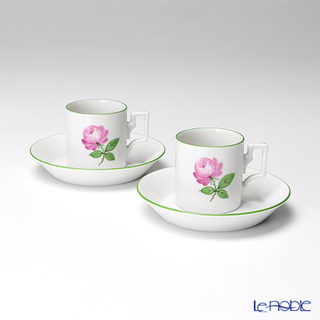 Augarten 'Wiener (Viennese) Rose' [Habsburg shape] Mocha Coffee Cup & Saucer 80ml (set of 2)