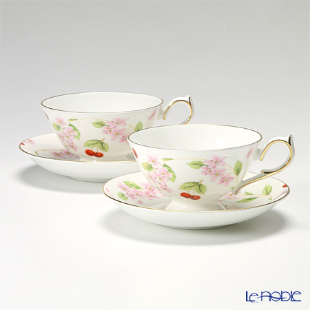 Aynsley Cherry Blossom Athens Teacup & saucer set of 2