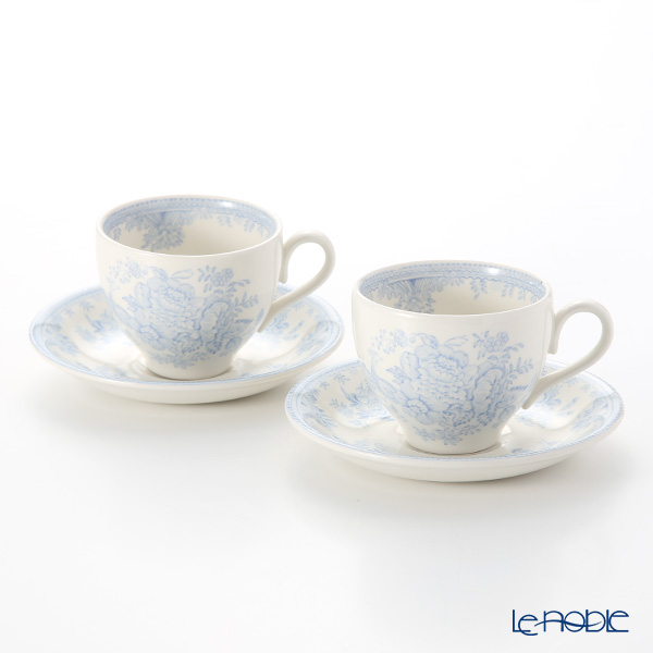 Burleigh Pottery Blue Asiatic Pheasants Teacup & Saucer 187 ml (Set of 2)