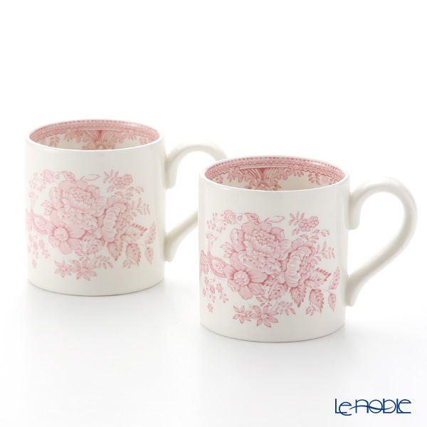 Burleigh Pottery Pink Asiatic Pheasants Mug 284 ml / 0.5 pt (Set of 2)