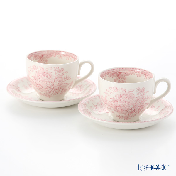 Burleigh Pottery Pink Asiatic Pheasants Teacup & Saucer 187 ml (Set of 2)