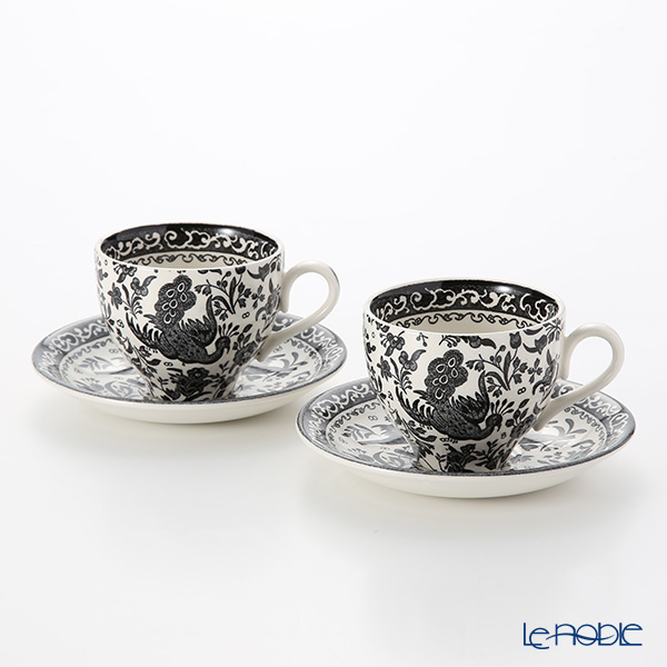 Burleigh Pottery 'Black Regal Peacock' Tea Cup & Saucer 200ml (set of 2)