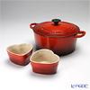 ( LeCreuset Le Creuset cherry red Cocotte/Casserole Ronde 22 cm x 1 & d'amour d'amour x 2 sets