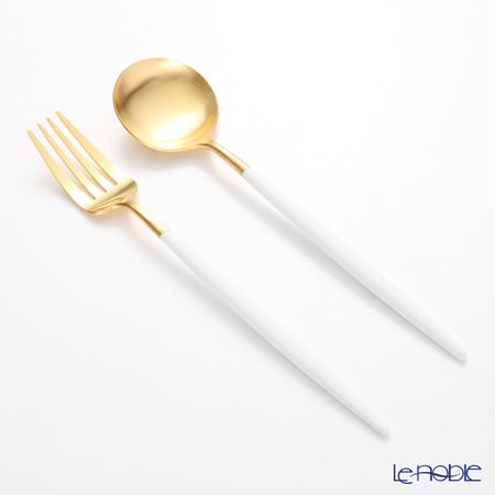 クチポール ゴア GOA ホワイト/ゴールド テーブルスプーン&フォークセット マット仕上げ