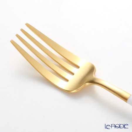 Cutipol 'GOA' White & Matte finish Gold Table Spoon, Fork, Knife (set of 12 for 4 persons) with brand box