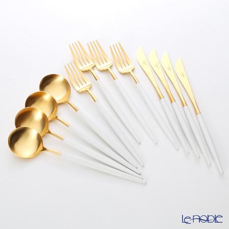 クチポール ゴア GOA ホワイト/ゴールド 4人用カトラリー12本セット(ディナー) マット仕上げ