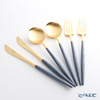 Cutipol Goa Blue Matte Gold Table Knife, Table Fork and Table Spoon set for 2 39724750 / 39724751 / 39724752