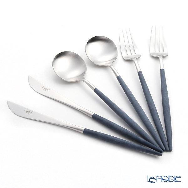 Cutipol GOA Blue & Matte finish Silver Table Cutlery set of 6 with brand box