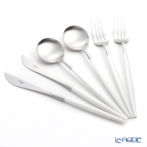 Cutipol GOA White & Matte finish Silver Table Cutlery set of 6 with brand box