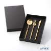 Cutipol 'MOON' Matte finish Gold Table Spoon, Fork, Knife (set of 3 for person) with brand box