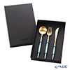 Cutipol 'GOA' Turquoise Blue & Matte finish Gold Table Spoon, Fork, Knife (set of 3 for 1 person) with Brand box