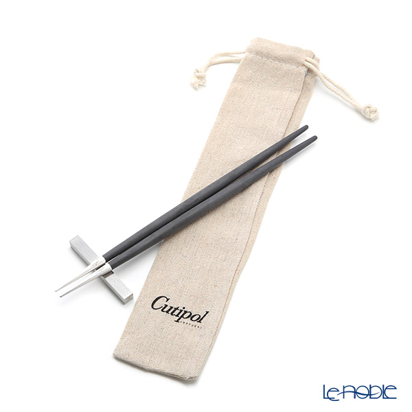 クチポール ゴア GOA ブラック/シルバー 箸+箸置セット 23cm マット仕上げ【ロゴ入リネン袋付】