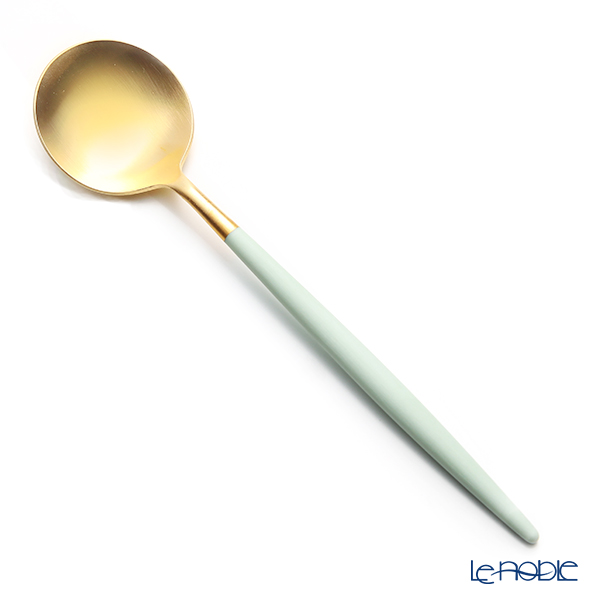 Cutipol 'GOA' Celadon Green & Matte finish Gold Table Spoon, Fork, Knife (set of 3 for 1 person)