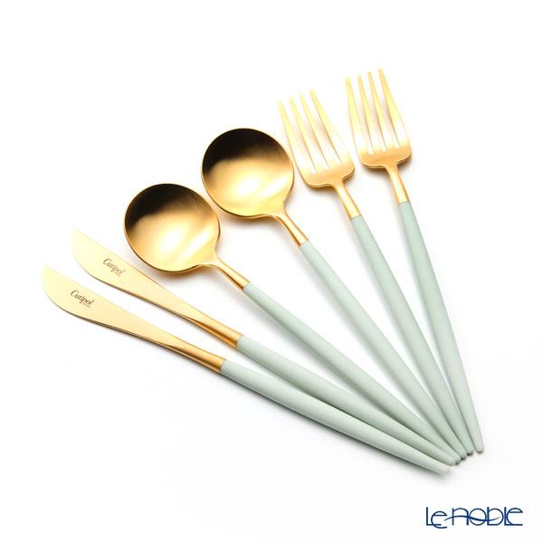 Cutipol 'GOA' Celadon Green & Matte finish Gold Dessert Spoon, Fork, Knife (set of 6 for 2 persons)