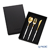 Cutipol 'MIO' White & Matte finish Gold Table Spoon, Fork, Knife (set of 3 for 1 person)