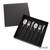 Cutipol 'NAU' Black & Matte finish Silver Dessert Spoon, Fork, Knife (set of 6 for 2 person with Brand Box)