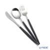 Cutipol 'NAU' Black & Matte finish Silver Dessert Spoon, Fork, Knife (set of 3 for 1 person)